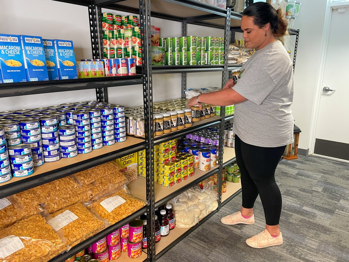 Aleira is stacking food items in our pantry on a tall sheving unit